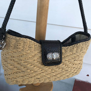 Brighton Woven and Black Leather Shoulder Bag